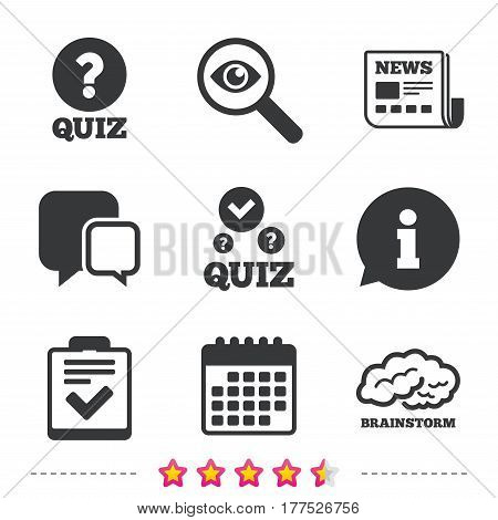Quiz icons. Human brain think. Checklist with check mark symbol. Survey poll or questionnaire feedback form sign. Newspaper, information and calendar icons. Investigate magnifier, chat symbol. Vector