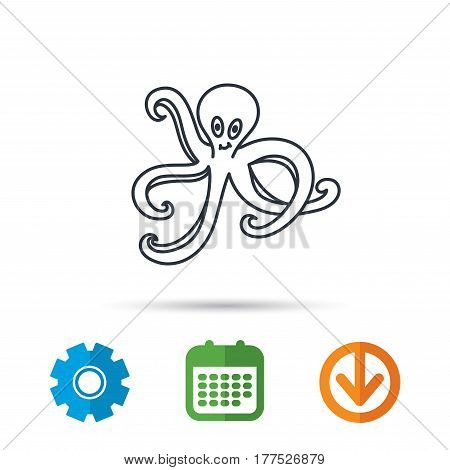 Octopus icon. Ocean devilfish sign. Calendar, cogwheel and download arrow signs. Colored flat web icons. Vector