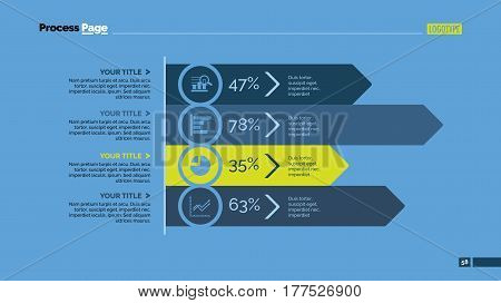 Four arrows bar chart. Business data. Horizontal, diagram, design. Concept for infographic, presentation, report. Can be used for topics like analysis, statistics, finance.