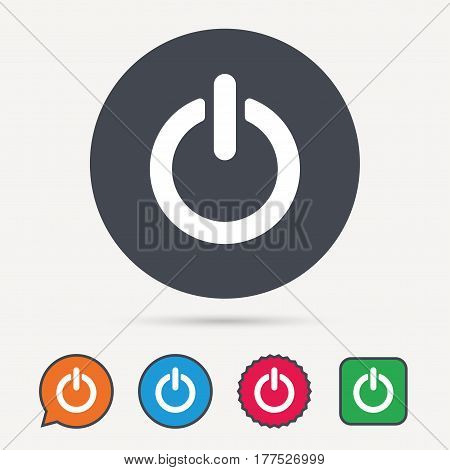 On, off power icon. Energy switch symbol. Circle, speech bubble and star buttons. Flat web icons. Vector