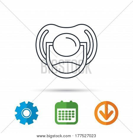 Pacifier icon. Nipple or dummy sign. Newborn child relax equipment symbol. Calendar, cogwheel and download arrow signs. Colored flat web icons. Vector