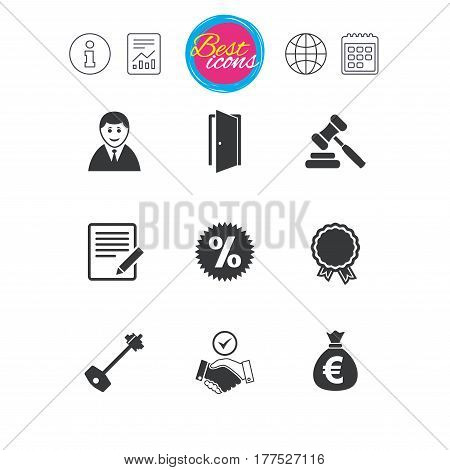 Information, report and calendar signs. Real estate, auction icons. Home key, discount and door signs. Business agent, award medal symbols. Classic simple flat web icons. Vector