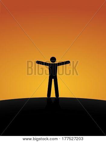 Workout At Sunset. Vector Illustration Of Symbol Man Feeling Free At Sunset.