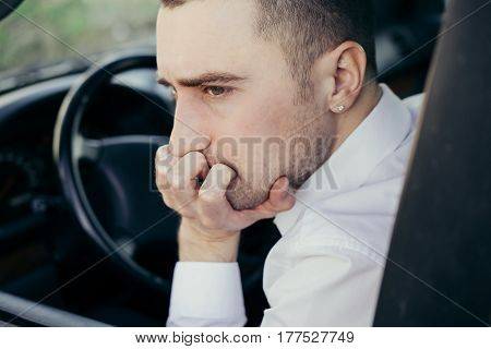 Stressed  Businessman, Furious Driver In His Car