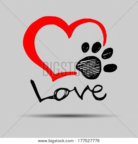 dog footprint print paw foot shape illustration pet animal heart