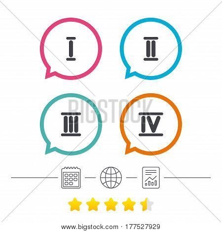 Roman numeral icons. 1, 2, 3 and 4 digit characters. Ancient Rome numeric system. Calendar, internet globe and report linear icons. Star vote ranking. Vector