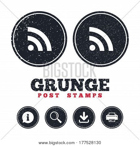 Grunge post stamps. RSS sign icon. RSS feed symbol. Information, download and printer signs. Aged texture web buttons. Vector