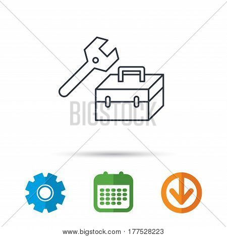 Repair toolbox icon. Wrench key sign. Calendar, cogwheel and download arrow signs. Colored flat web icons. Vector