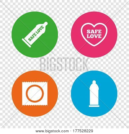 Safe sex love icons. Condom in package symbol. Fertilization or insemination. Heart sign. Round buttons on transparent background. Vector
