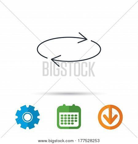 Repeat icon. Full rotation sign. Reload, refresh loop symbol. Calendar, cogwheel and download arrow signs. Colored flat web icons. Vector
