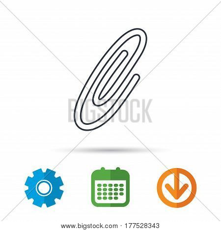 Safety pin icon. Paperclip sign. Calendar, cogwheel and download arrow signs. Colored flat web icons. Vector