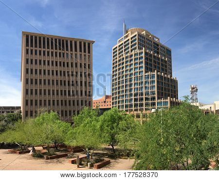 PHOENIX AZ - MARCH 20 2017: Calvin C Goode Municipal Building (left) and City Hall (right) City of Phoenix Arizona