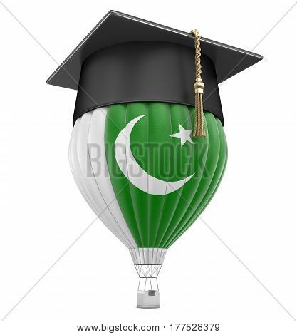 3D Illustration. Graduation cap and Pakistani flag. Image with clipping path