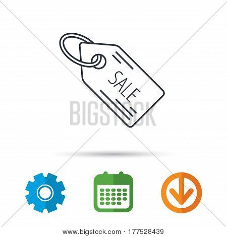 Sale shopping tag icon. Discount label sign. Calendar, cogwheel and download arrow signs. Colored flat web icons. Vector