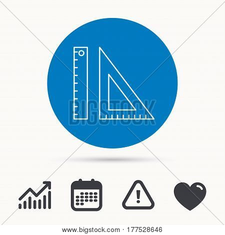 Triangular ruler icon. Geometric school supplies symbol. Calendar, attention sign and growth chart. Button with web icon. Vector