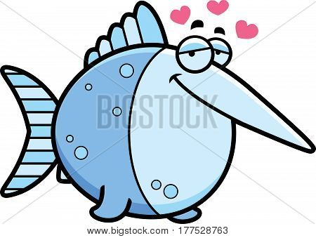 Cartoon Swordfish In Love