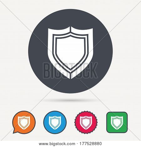 Shield protection icon. Defense equipment symbol. Circle, speech bubble and star buttons. Flat web icons. Vector