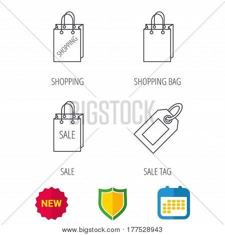 Shopping, sale bag and sale tag coupon icons. Special offer linear signs. Shield protection, calendar and new tag web icons. Vector