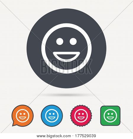 Happy smile icon. Smiley laugh emoticon symbol. Circle, speech bubble and star buttons. Flat web icons. Vector