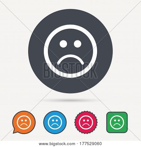 Sad smiley icon. Bad feedback symbol. Circle, speech bubble and star buttons. Flat web icons. Vector