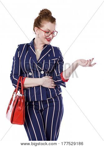 Stylish middle-aged lady in blue and white striped suit isolated on white background