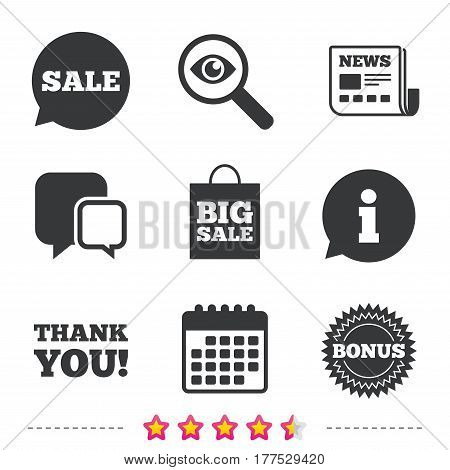 Sale speech bubble icon. Thank you symbol. Bonus star circle sign. Big sale shopping bag. Newspaper, information and calendar icons. Investigate magnifier, chat symbol. Vector