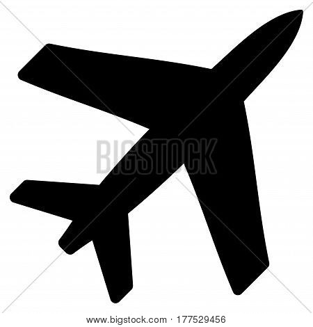 Airplane vector icon. Flat black symbol. Pictogram is isolated on a white background. Designed for web and software interfaces.