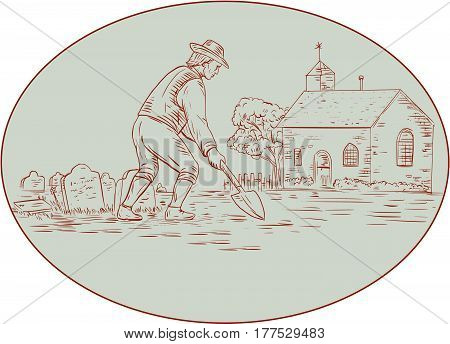 Drawing sketch style illustration of a grave digger in the medieval times holding shovel digging viewed from the side set inside oval shape with church tombstone and tree in the background.