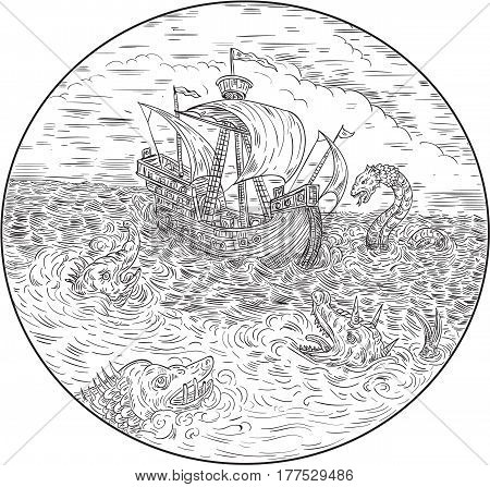 Drawing sketch style illustration of a tall ship sailing in turbulent ocean sea with serpents and sea dragons around set inside circle done in black and white.
