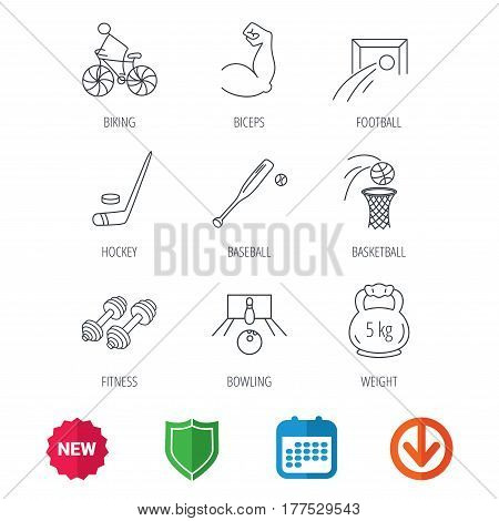 Ice hockey, football and basketball icons. Fitness sport, baseball and bowling linear signs. Biking, weightlifting icons. New tag, shield and calendar web icons. Download arrow. Vector