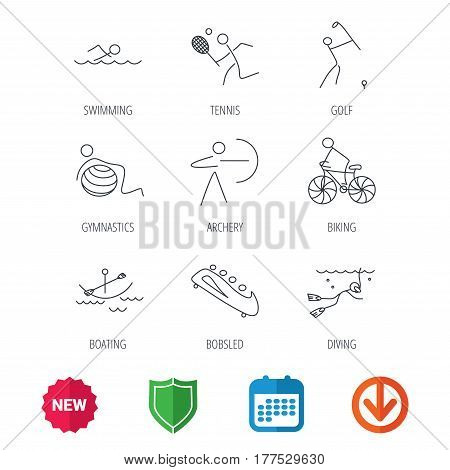 Swimming, tennis and golf icons. Biking, diving and gymnastics linear signs. Archery, boating and bobsleigh icons. New tag, shield and calendar web icons. Download arrow. Vector