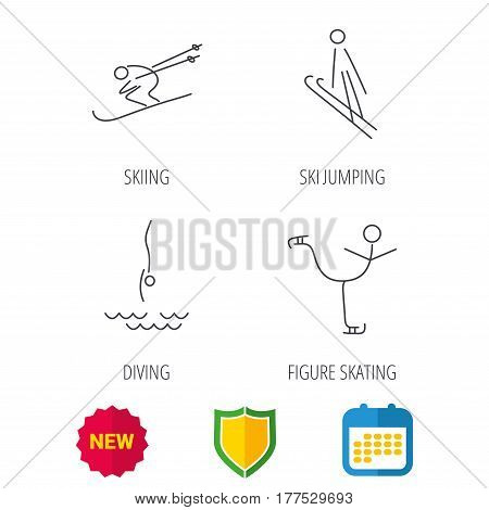 Diving, figure skating and skiing icons. Ski jumping linear sign. Shield protection, calendar and new tag web icons. Vector