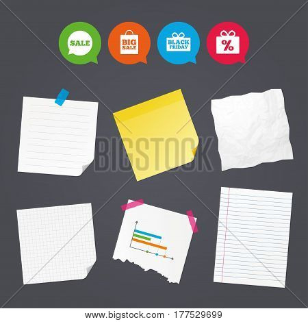 Business paper banners with notes. Sale speech bubble icon. Black friday gift box symbol. Big sale shopping bag. Discount percent sign. Sticky colorful tape. Speech bubbles with icons. Vector