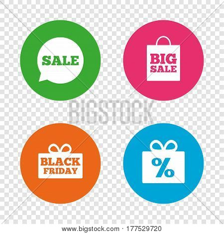 Sale speech bubble icon. Black friday gift box symbol. Big sale shopping bag. Discount percent sign. Round buttons on transparent background. Vector
