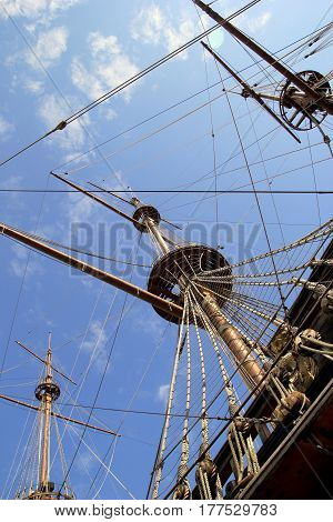 Travel To Genoa, Italy. The Part Of The Ship With The Mast.