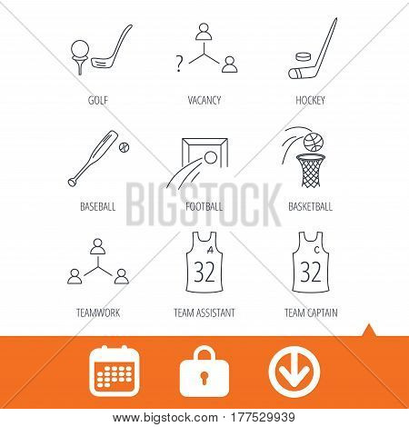 Football, ice hockey and baseball icons. Basketball, team assistant and captain linear signs. Teamwork, vacancy and golf icons. Download arrow, locker and calendar web icons. Vector