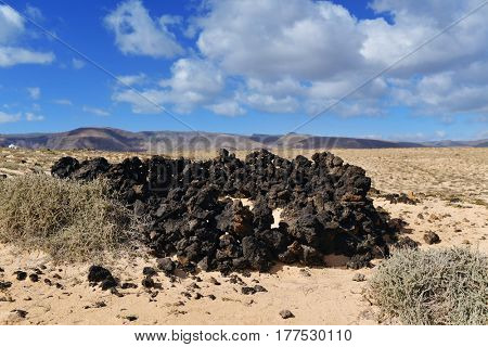a view of a landscape in the north-east of Lanzarote, Canary Islands, Spain, with a characteristic shelter to protect from of the wind built with volcanic rocks in the foreground