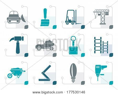 Stylized Building and Construction equipment icons - Vector Icon Set