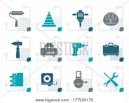 Stylized Building and Construction Tools icons - Vector Icon Set