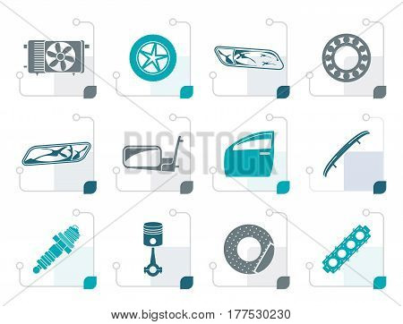 Stylized Realistic Car Parts and Services icons - Vector Icon Set 1