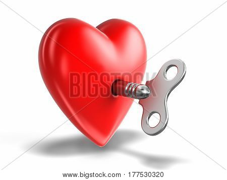 3D Illustration. Heart and Windind key. Image with clipping path