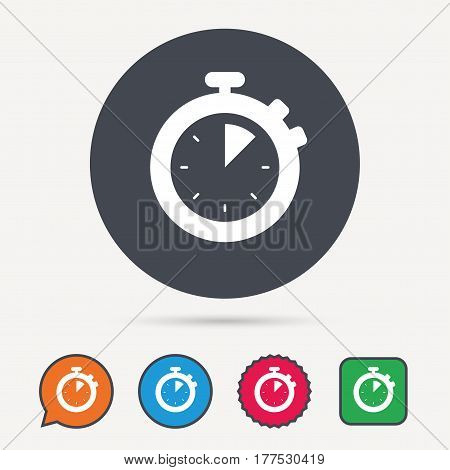 Stopwatch icon. Timer or clock device symbol. Circle, speech bubble and star buttons. Flat web icons. Vector