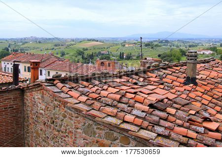 Travel To Vinci, Italy. The View On The Roofs Of Houses.