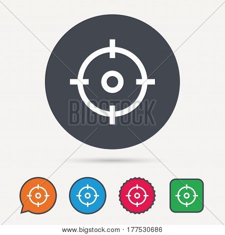 Target icon. Crosshair aim symbol. Circle, speech bubble and star buttons. Flat web icons. Vector