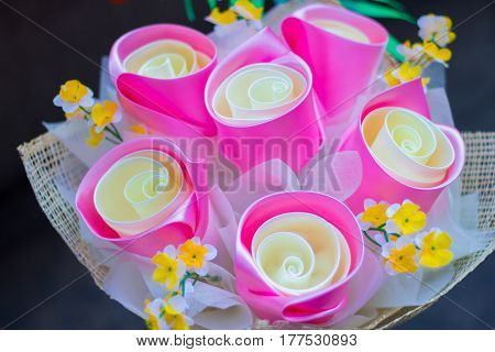 big pink panicle fabric rose, love concept