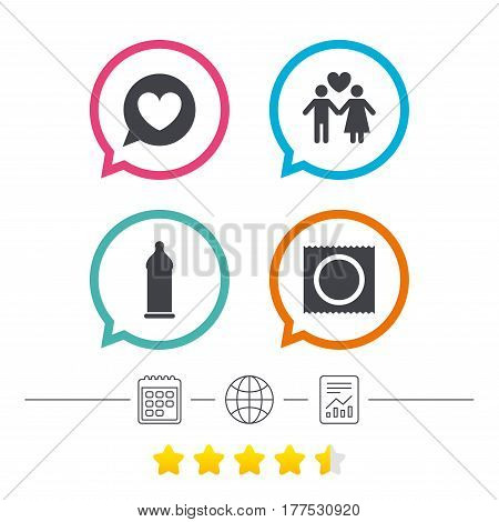 Condom safe sex icons. Lovers couple signs. Male love female. Speech bubble with heart. Calendar, internet globe and report linear icons. Star vote ranking. Vector
