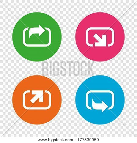 Action icons. Share symbols. Send forward arrow signs. Round buttons on transparent background. Vector