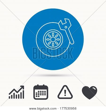 Tire service icon. Wheel and wrench key sign. Calendar, attention sign and growth chart. Button with web icon. Vector