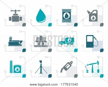 Stylized oil and petrol industry objects icons - vector icon set