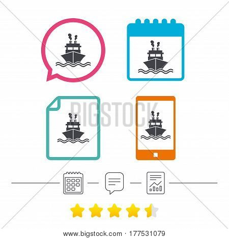 Ship or boat sign icon. Shipping delivery symbol. Smoke from chimneys or pipes. Calendar, chat speech bubble and report linear icons. Star vote ranking. Vector